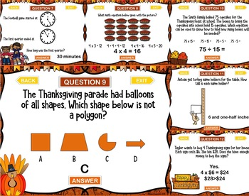 Third Grade Thanksgiving Math Problems PowerPoint Game