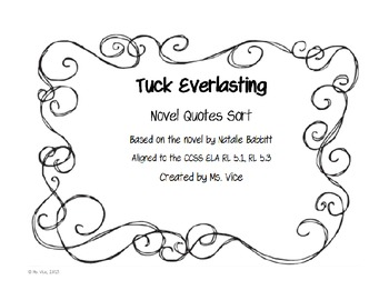 Tuck Everlasting Quotes Interesting Freebie Tuck Everlasting Novel Quote Sortmsvice  Tpt