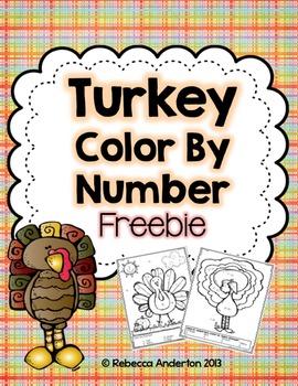 Freebie! Turkey Color By Number