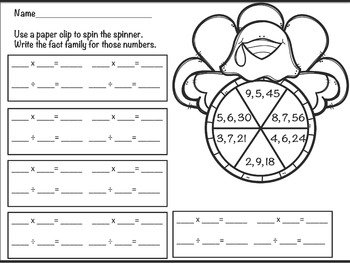 Multiplication and Division Fact Family Turkey Spinners Freebie