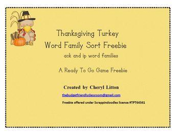 Freebie Turkey Word Family Sort