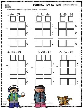 Freebie Two-Digit Addition and Subtraction with Regrouping Game and Worksheets