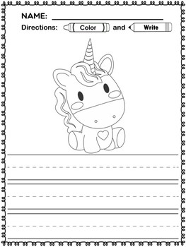 Freebie : Unicorn Coloring and Writing Pages