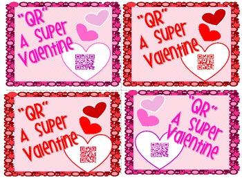 """Freebie! Valentine Card from Teacher """"QR"""" Code message"""
