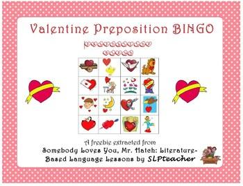 Freebie: Valentine Preposition BINGO