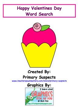 Freebie Valentine Word Search