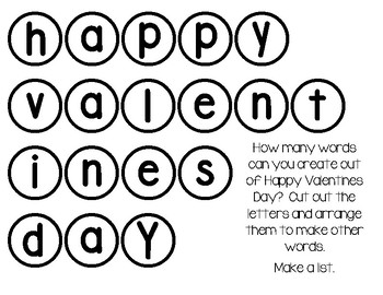 Freebie - Valentine's Day Word Game