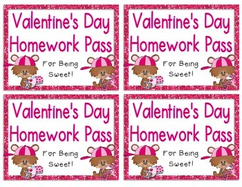 {Freebie!} Valentine's Day Homework Pass