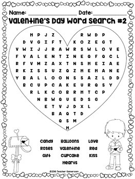 Freebie - Valentine's Day Word Searches
