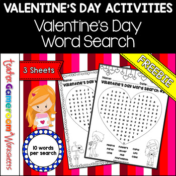 Freebie - Valentine's Day Word Searches