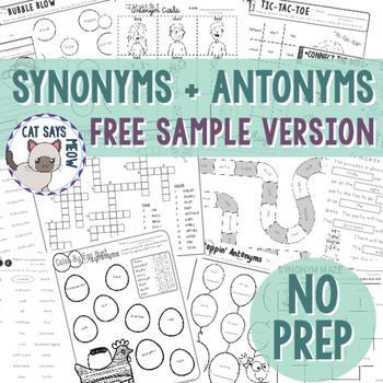 Freebie Version: Synonyms and Antonyms Pack: NO PREP!