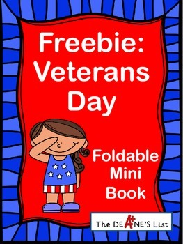 Freebie: Veterans Day Foldable Mini Book