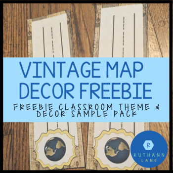 Freebie Vintage Travel and Map Themed Classroom Decor Sample