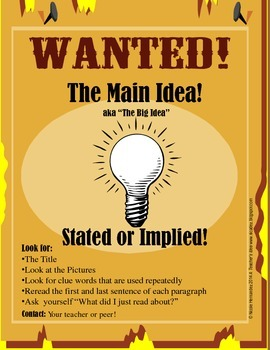 Freebie-WANTED Poster- Finding the Main Idea
