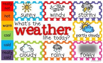 Freebie!  Weather Chart!  Toddler, PreK, Kindergarten, First Grade!