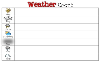 freebie weather chart toddler prek kindergarten first grade. Black Bedroom Furniture Sets. Home Design Ideas
