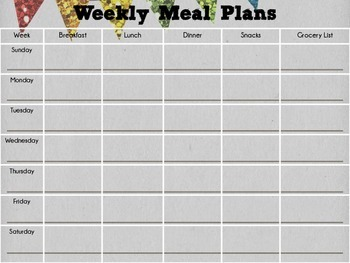 {Freebie} Weekly Meal Plan Organizer & Templates