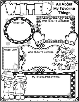Freebie, Winter Activities, Writing Activity, Reflection