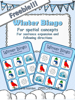 Freebie! Winter Bingo for spatial concepts