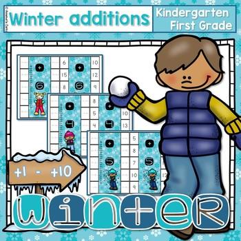 ~Winter Flipcard Math Additions~  Self Correcting