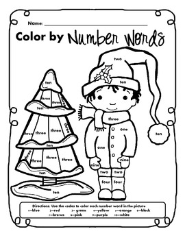 Freebie - Winter Math & Literacy Color by Code Sampler Packet