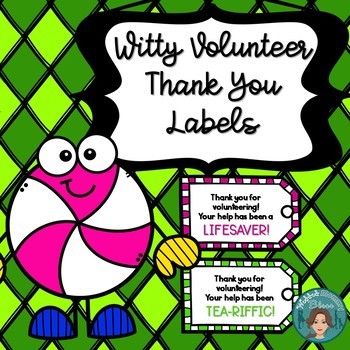 Freebie Witty Volunteer Thank You Labels