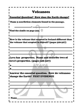 Freebie:  Wonders Text Evidence Volcanoes