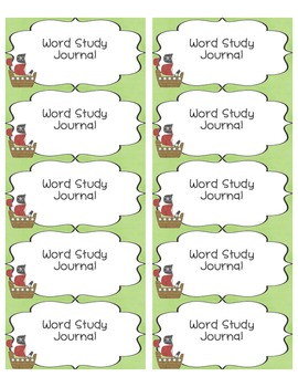 Freebie Word Study Labels Pirate Theme
