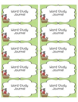 Freebie Word Study Labels Pirate Theme