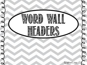 Freebie! Word Wall Headers in Gray Chevron