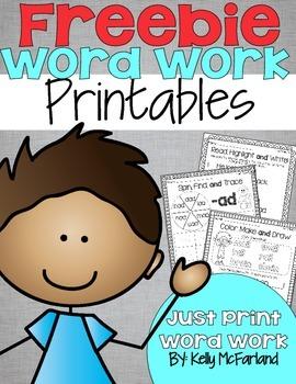 Word Work Printables Freebie