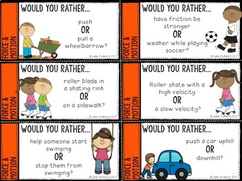 Freebie: Would You Rather? Force and Motion Questions