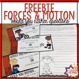 Forces and Motion Would you Rather Questions Freebie