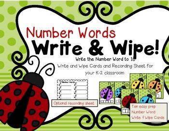 Freebie--Write & Wipe Number Words to 10