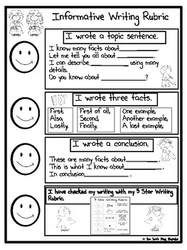 Freebie Writing Graphic Organizer and Rubric (Informative)