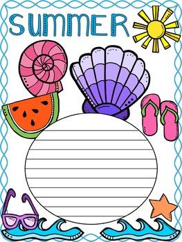 Freebie Writing Paper : Summer Beach : Standard Lines