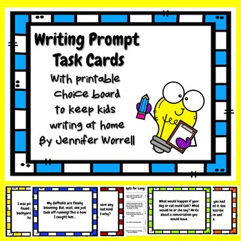 Freebie Writing Prompt Task Cards with Printable Choice Board