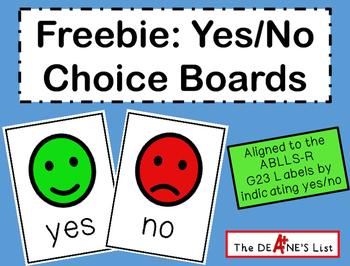 Freebie: Yes/No Choice Board