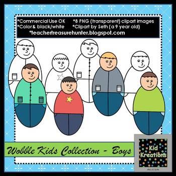 Freebie clipart ~ Wobble Kids Collection ~ Boys 8 color/B&W png