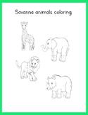 Freebie coloring animals of the savanna