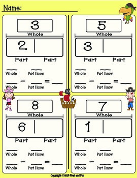 Freebie envision Common Core MAFS Subtraction missing part Mat and worksheets
