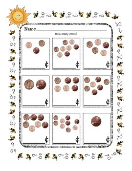 Money ~ Penny Counting ~ One Work Sheet ~ Frames for Holidays Seasons and More