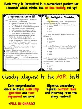 Freebie packet from TEST PREP ALL YEAR!  Language Arts Set 1 Sept/Oct