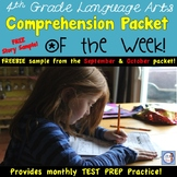 4th Grade Reading Comprehension Packet & Assessment FREEBIE! (AIR test aligned)