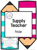 Supply teacher note - FREE