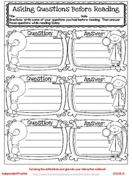 Freebie...Interactive Notebook Lessons for Common Core Reading {Grade 2}