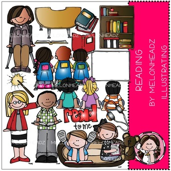 Reading clip art - COMBO PACK- by Melonheadz