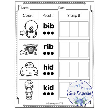 Freebies CVC Short Vowel Color, Read, and Stamp It!