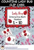 Freebies Lady Bug Interactive Math Number 1 - 10 Flashcard