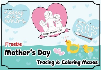 Freebie! Mother's Day Tracing & Coloring Mazes (Mother's Day Activities)